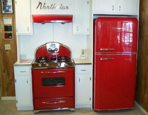 rot retro küche design idee