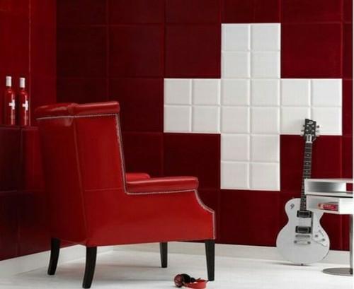 rot weiß deko interieur glanzvoll ledersessel quadraten wandbelag