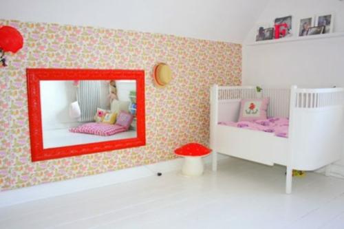 roter spiegel kinderzimmer idee interieur zwillingsmädchen