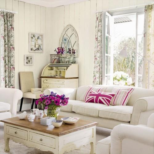 wohnzimmer rosa weiß:Vintage Style Living Room Ideas