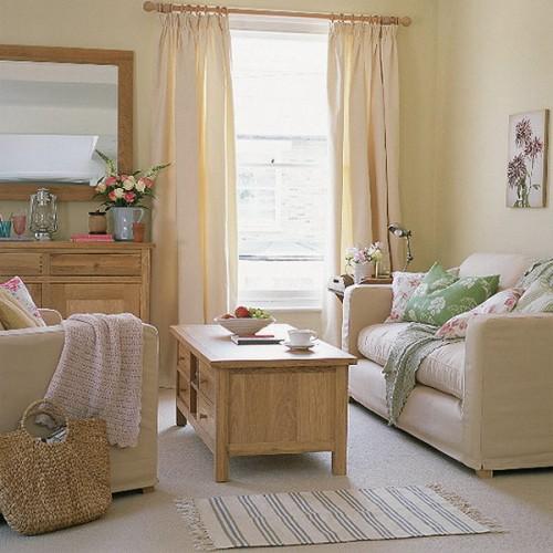 rustikale wohnzimmer design ideen pastellfarben
