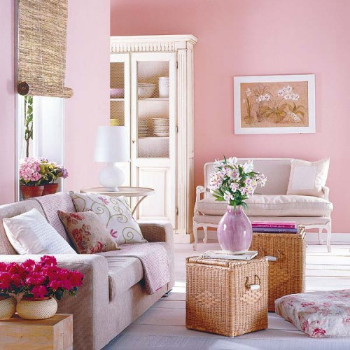 rustikale wohnzimmer design ideen rosa farbe wände