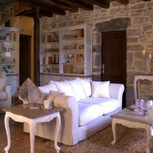rustikale wohnzimmer design ideen stein innenwand