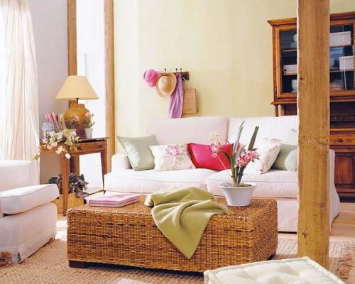 rustikale wohnzimmer design ideen weiß sofas kissen