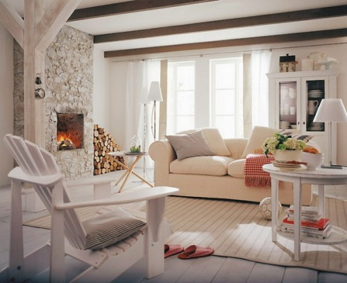 rustikale wonhzimmer design ideen gemütlich weiß ausstattung