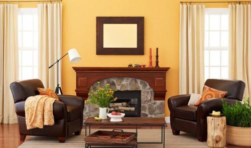 rustikales wohnzimmer ideen design ledersessel einbaukamin