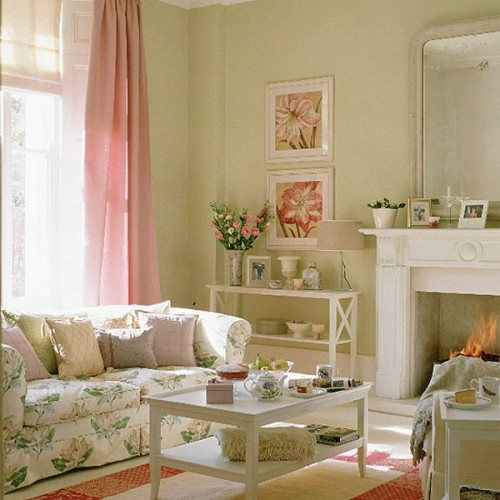 rustikales wohnzimmer ideen design pastellfarbe - Gemtliches Wohnzimmer Ideen