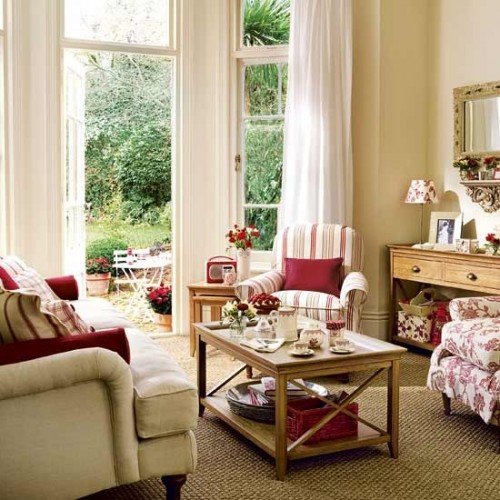 wohnzimmer design ideen:Red Country Living Room Ideas