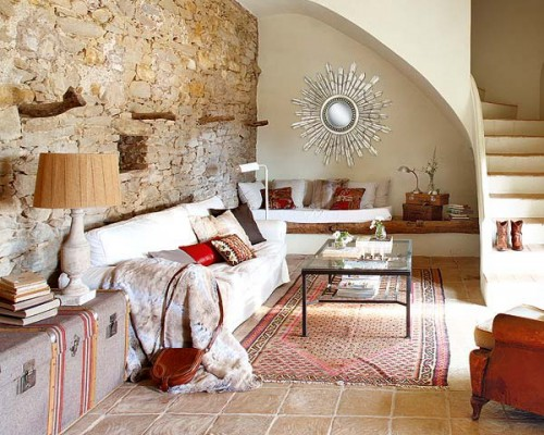 wohnzimmerwand weiß:Rustic Living Room Design Ideas