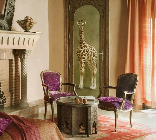 samtsessel lila intensiv farben verzierung orient wohndesign