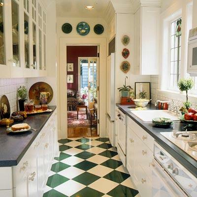 schachbrettmuster boden schmale Küchen Interieurs eng design