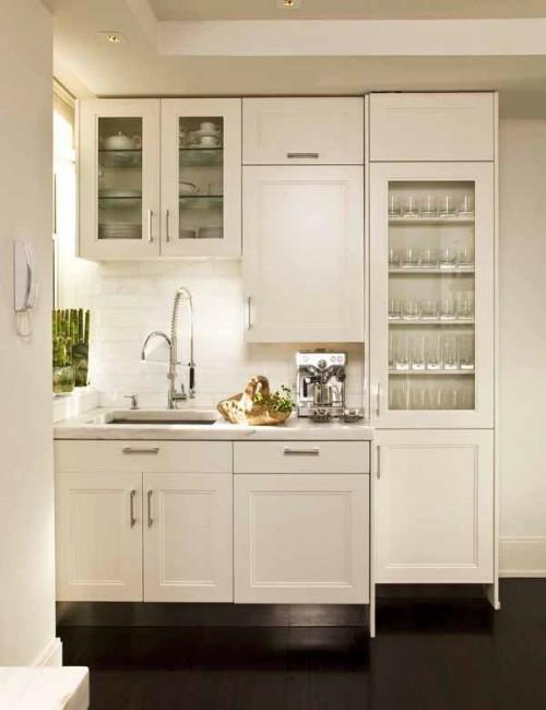schicke design ideen kleine küche holz weiß