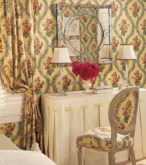 schlafzimmer schminktisch wände tapeten gardinen dekorativ