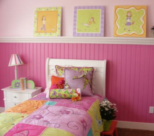 schlafzimmer tochter mädchen idee design bunt rosa