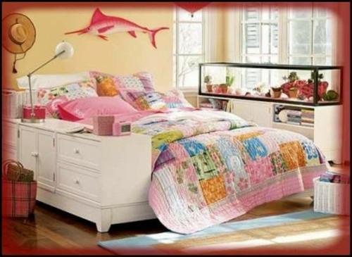 schlafzimmer weiße möbeln shabby chic stil blumentöpfe