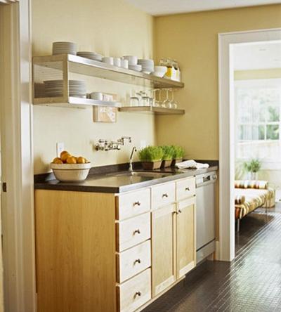 schmal kompakt küche türen holz hell küchenausstattung