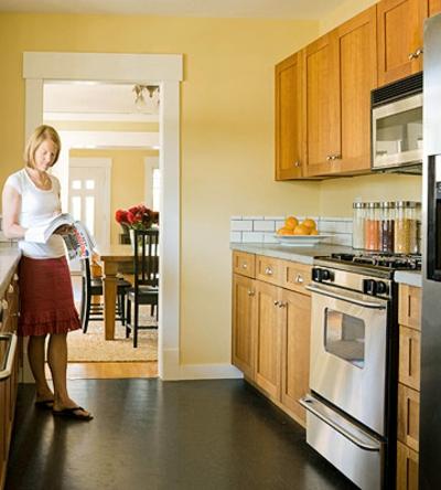 schmale Küchen Interieurs sonnig idee