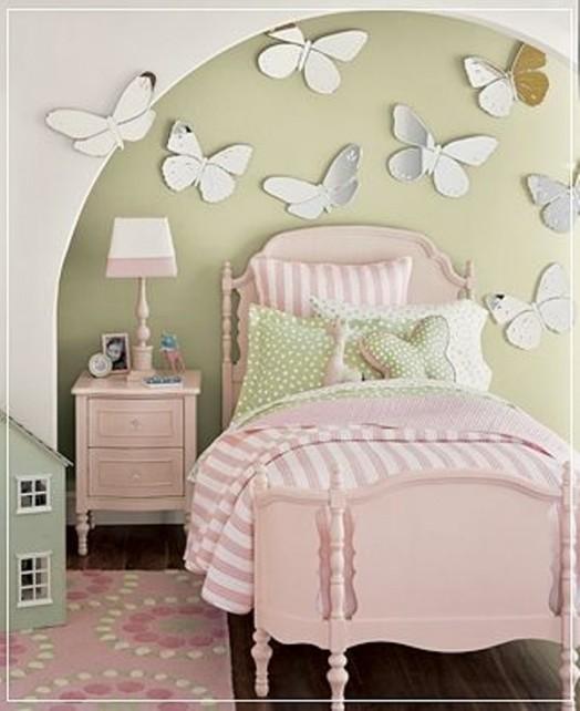 Schmetterlinge Wandakzent Idee Kinderzimmer Grün Wand