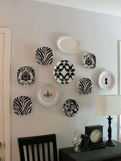 schwarz weiß klassisch kombination wandteller collage idee design