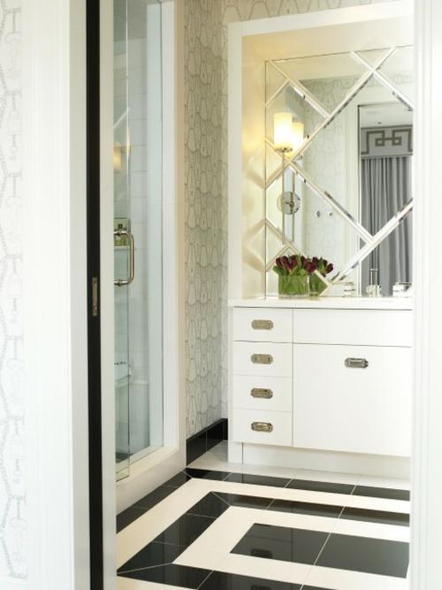 schwarze weiße fliesen badezimmerboden idee