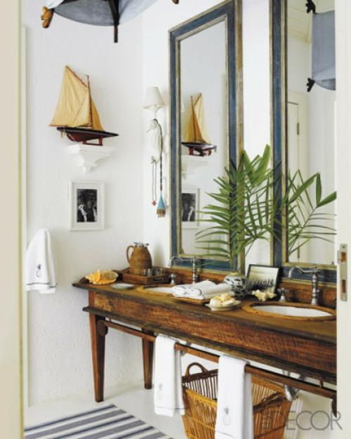 segelschiff dekorativ idee badezmimer holz klassisch design deko