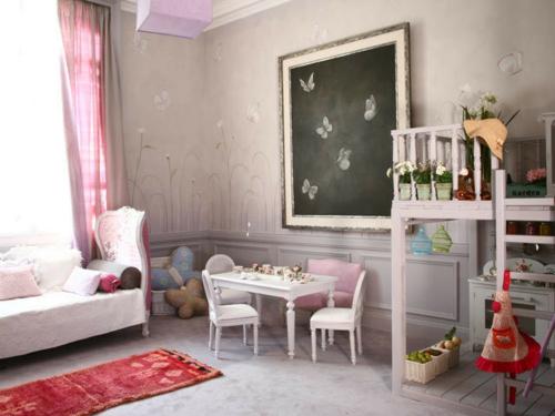 Mädchen Schlafzimmer im Shabby-Chic-Stil extravagantes Wandgemälde