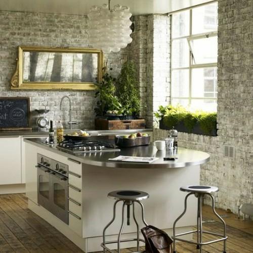 spiegel im küchenbereich küchenblock idee originell golden rahmen