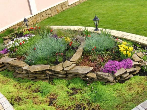 steinplatten kräuter sommerblumen gartenbau