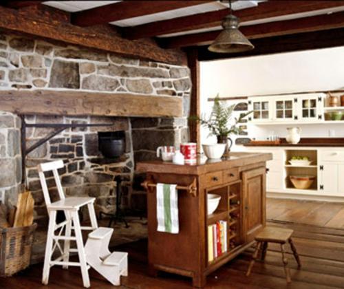 steinwand einbaukamin weiß essstuhl küche arbeitsplatte