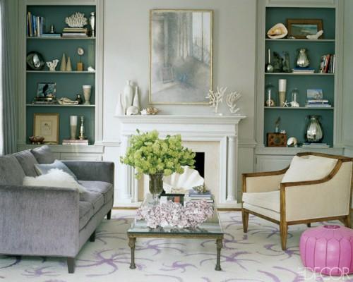 stilvoll eingebaute regale deko ideen bilderrahmen sofa