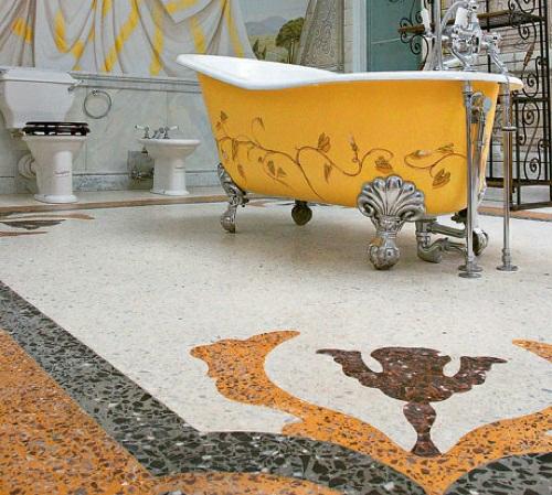 stilvoll schick badezimmerboden idee badewanne