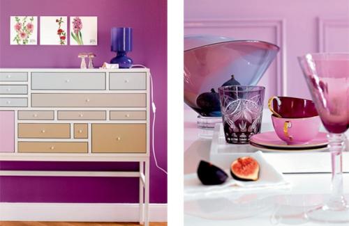 stilvolles lila wohnzimmer interieur schubfächer farbschema