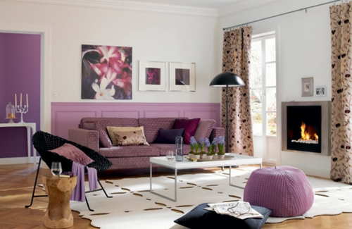 Stilvolles lila wohnzimmer interieur interessante Purple brown living room