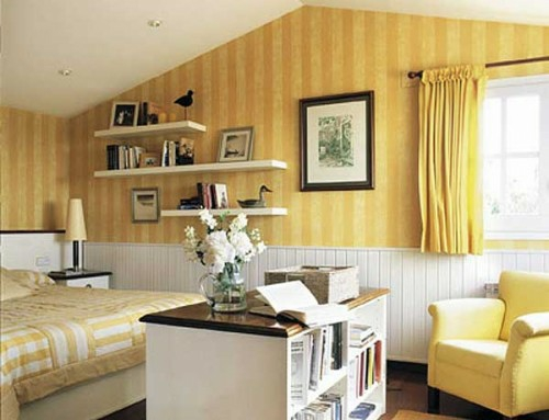 Gestreifte Tapeten Schlafzimmer : 38 tolle und behagliche Schlafzimmer im Dachgeschoss -praktische Ideen