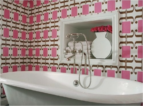 tapeten ideen im bad rosa muster abstrakt