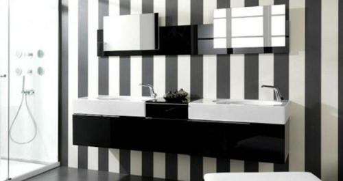 tapeten ideen im bad schwarz weißm streifen muster