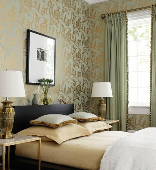tapeten muster floral golden dekorative vorhänge ideen schlafraum