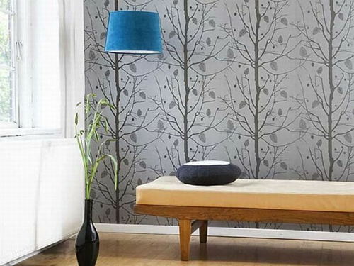 tapeten trends floral verzierungen aktuell hängelampe blau
