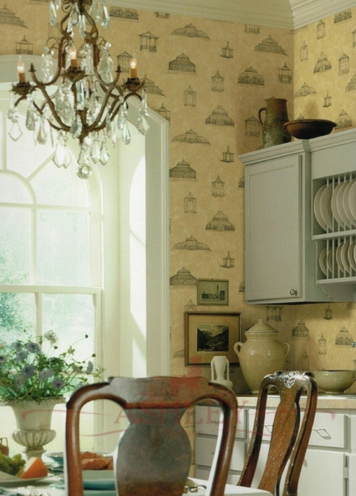 tapeteten im küchenbereich klassisch kronleuchter design