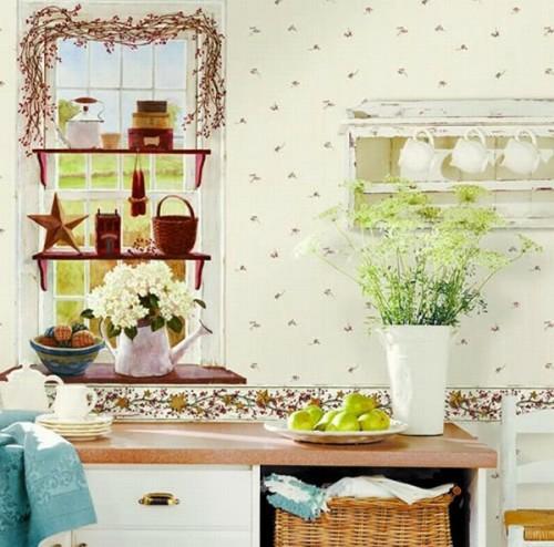 tapizieren wände küche idee stern deko schick süß