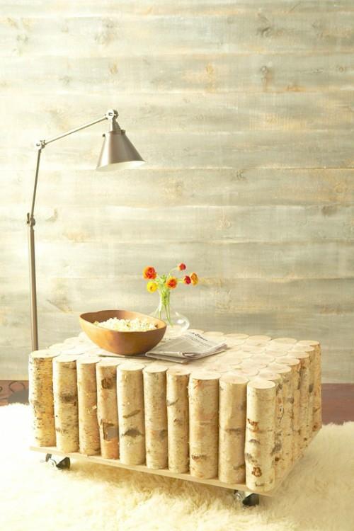tisch rollen weich weiß teppich baumstumpf dekoration stehlampe