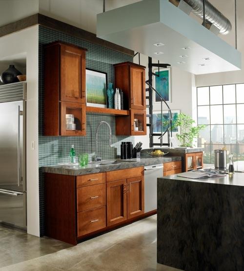 traditionell dunkel holz texturen küchenspiegel fliesen blau