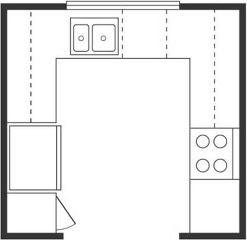 u-förmig küche entwurf projekt insel idee platz dreieck Wichtige Küchen Grundrisse