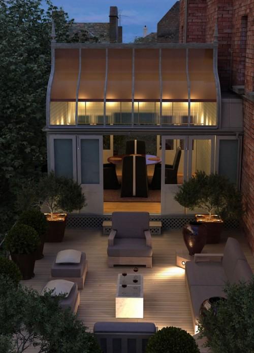 unglaubliche elegante Dachterrasse Stadt Möbel Wohnung