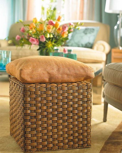 unterschiedlichen Stoffen Elegantes Zimmer Türkis Hocker Kissen Tisch