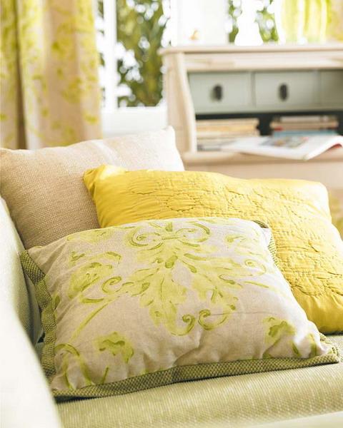unterschiedlichen Stoffen Grüne Sommerwiese Wohnzimmer Kissen Sofa Design