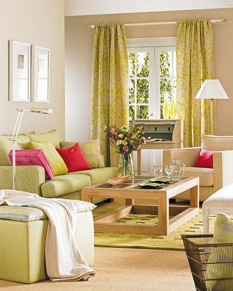 unterschiedlichen Stoffen Grüne Sommerwiese Wohnzimmer Sofa Kaffeetisch Teppich