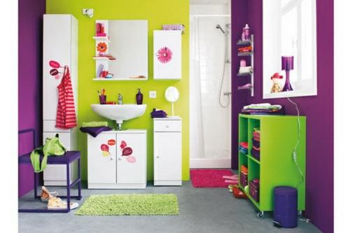 bunte badezimmer designs - 21 wunderschöne farbenreiche ideen - Wohnzimmer Grun Lila