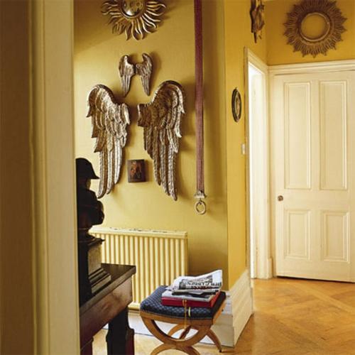 wanddeko engelsflügel klein groß flur elemente gelb