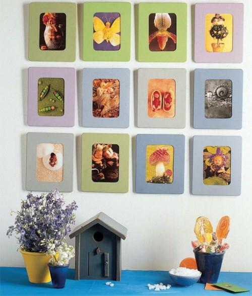 wanddekoration mit quadraten floral natur motive